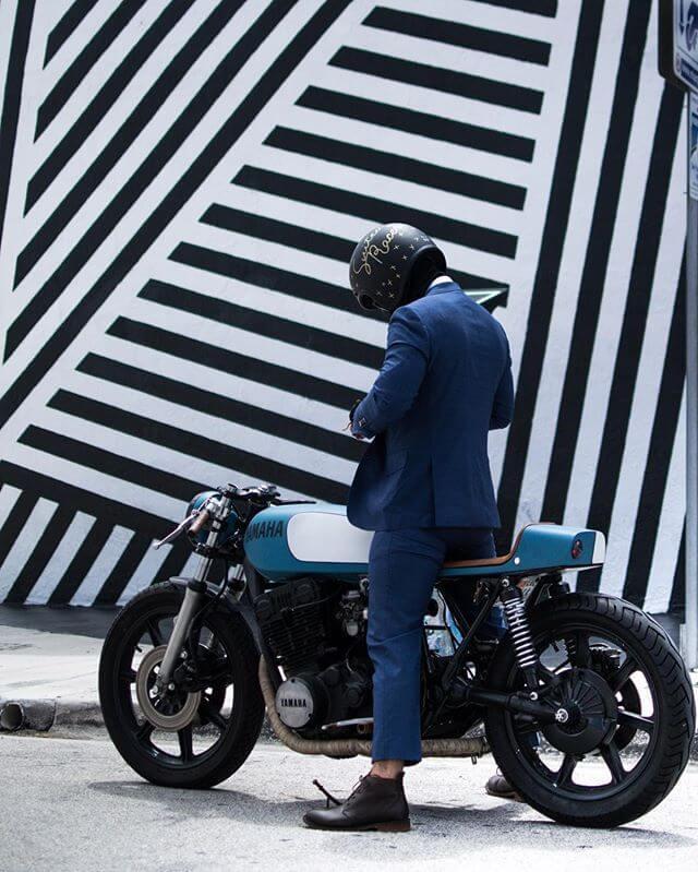 Motorcyclist wearing motobailey kevlar boot