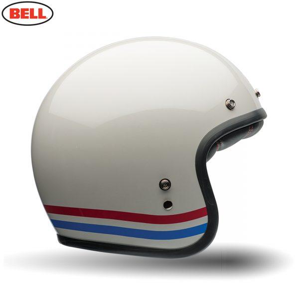 Bell Cruiser Custom 500 Deluxe Adult Helmet Stripes Pearl White