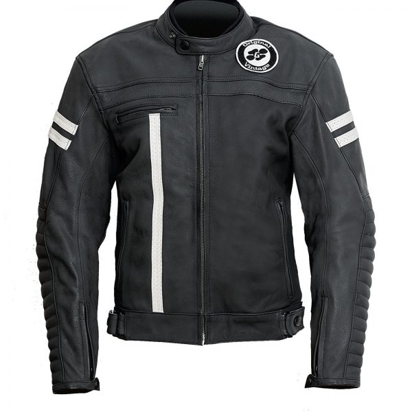 Garibaldi Moka Racer Vintage Black Leather Mens Jacket